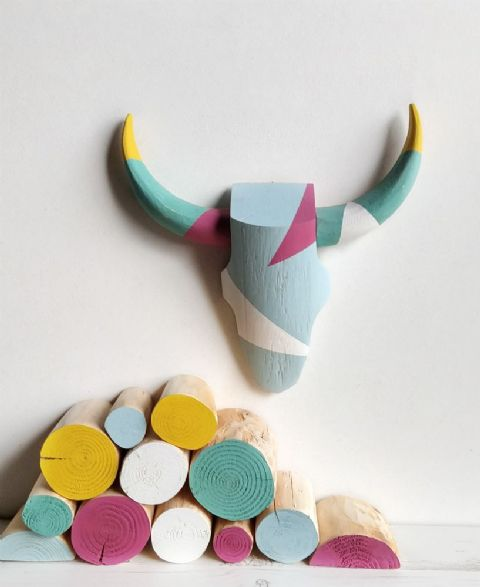 Cattle Skull Wall Art - GEOMETRIC BRIGHTS - *ONE-OFF*